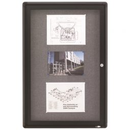 "Quartet Enclosed Fabric Bulletin Board 1-Door 36"" X 24"""