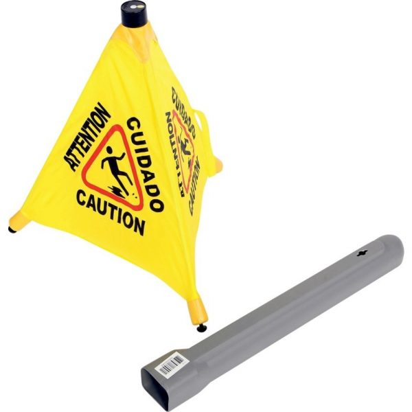 Pop-Up Safety Sign with Storage Tube