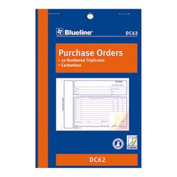 """Blueline Carbonless Purchase Orders 3-Part 5-3/8"""" X 8"""" English"""