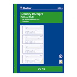 """Blueline Carbonless Security Receipts 2-Part 4/Page 10-7/8"""" X 8"""" English"""
