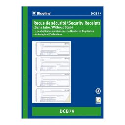 "Blueline Carbonless Security Receipts 2-Part 4/Page 10-7/8"" X 8"" Bilingual"