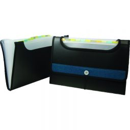 Winnable Portable File Poly 13-Pocket With Window Letter Size Black