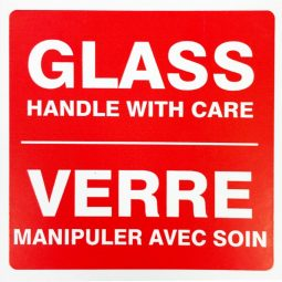 """Glass handle with care labels. 4X4"""" 500/Roll."""