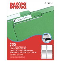 Basics File Folder Labels For Laser and Inkjet Printers