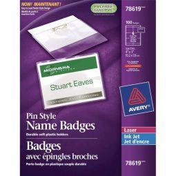 """Avery Name Badge Kit Pin Holder 3"""" X 4"""""""