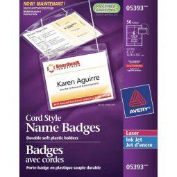 "Avery Name Badge Kit Cord Holder 3"" X 4"""