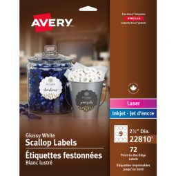 Avery® Glossy White Scallop Labels