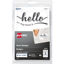 """Avery Badge """"Hello"""