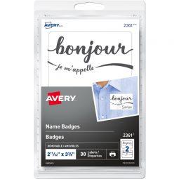 """Avery Badge """"Bonjour"""