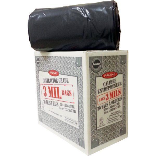 "Ralston Supersak Contractor Garbage Bags 33"" x 45"". 3 mil. Black. 30 rolls/box."