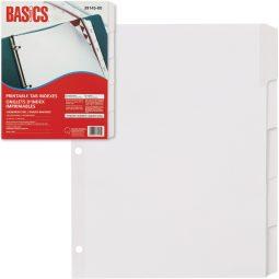 Basics index Laser Printable 5 Tabs White