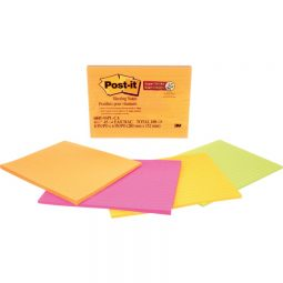 """Post-It Super Sticky Meeting Notes 8"""" X 6"""" Neon"""