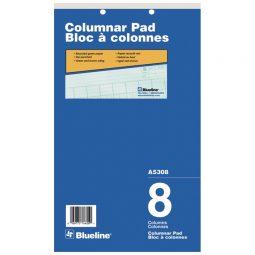 "Blueline A5300 Columnar Pad 8-1/4"" X 14"" 8 Columns"