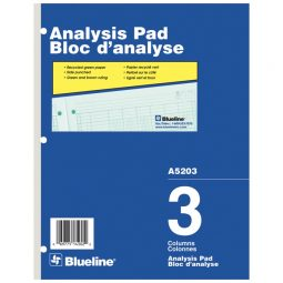 "Blueline A5200 Analysis Pad 10-7/8"" X 8-1/2"" 3 Columns"