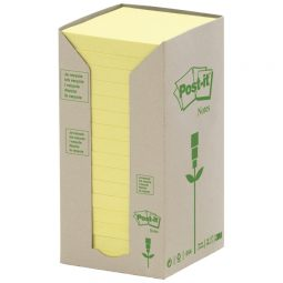 """Post-It Recycled Note Tower 3"""" X 3"""" Yellow"""
