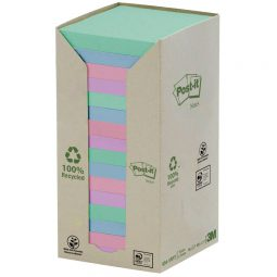 """Post-It Recycled Note Tower 3"""" X 3"""" Assorted"""
