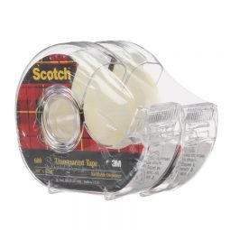 Transparent Adhesif Tape3/4''with dispenser 3M. 19 MM. 2 per Package.