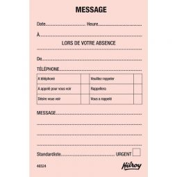 """Hilroy Telephone Message Pad 3.5"""" X 5"""" French"""