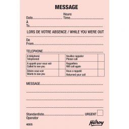 "Hilroy Telephone Message Pad 3.5"" X 5"" bilingual"