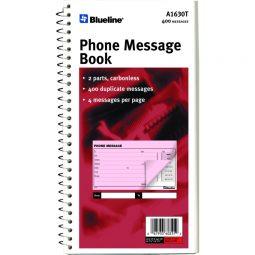 "Blueline Phone Message Book 11"" X 5-11/16"" English NCR 400"