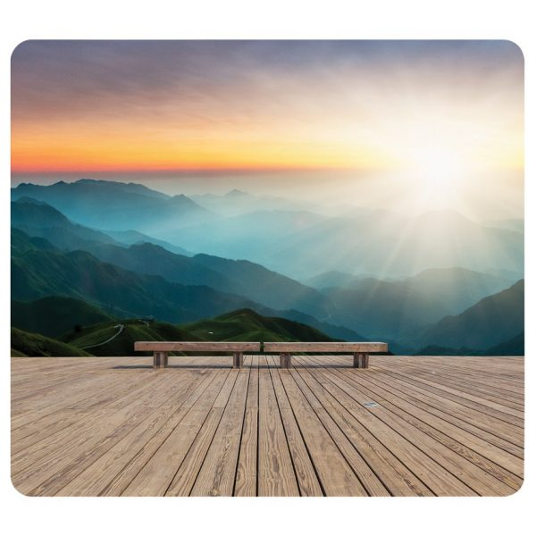Recycled mouse pad. Mountain sunrise.