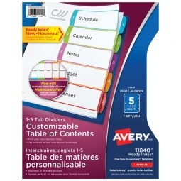 Index dividers whit table of contents. 1-5