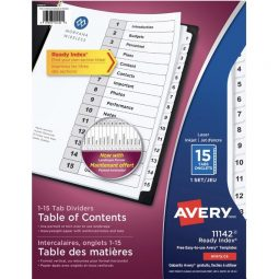 Avery Ready Index Index With Table Of Contents