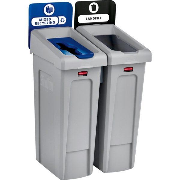 "Rubbermaid® Slim Jim® Stream Recycling Station 21-1/2""L x 24""W x 40-1/4""H"