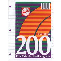 PAPER -LOOSE LEAF RULED 200 SHTS/PK